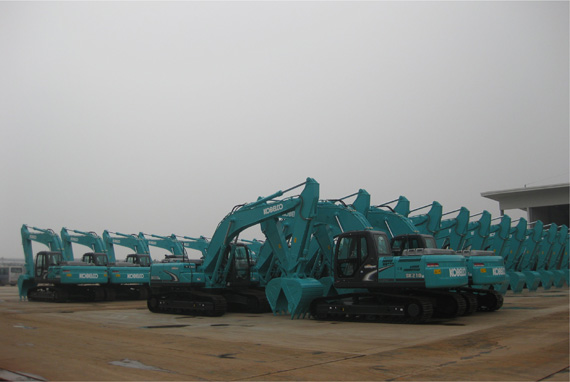 Kobelco excavators at the new factory ready for shipment