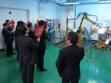 Welding robot installed at a demonstration space on the first floor of the office